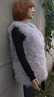 Модная серая жилетка с натуральных перьев страуса s, m, l, xl, xxl, фото 1