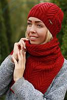 Комплект шапка и шарф шерстяной красный, фото 1