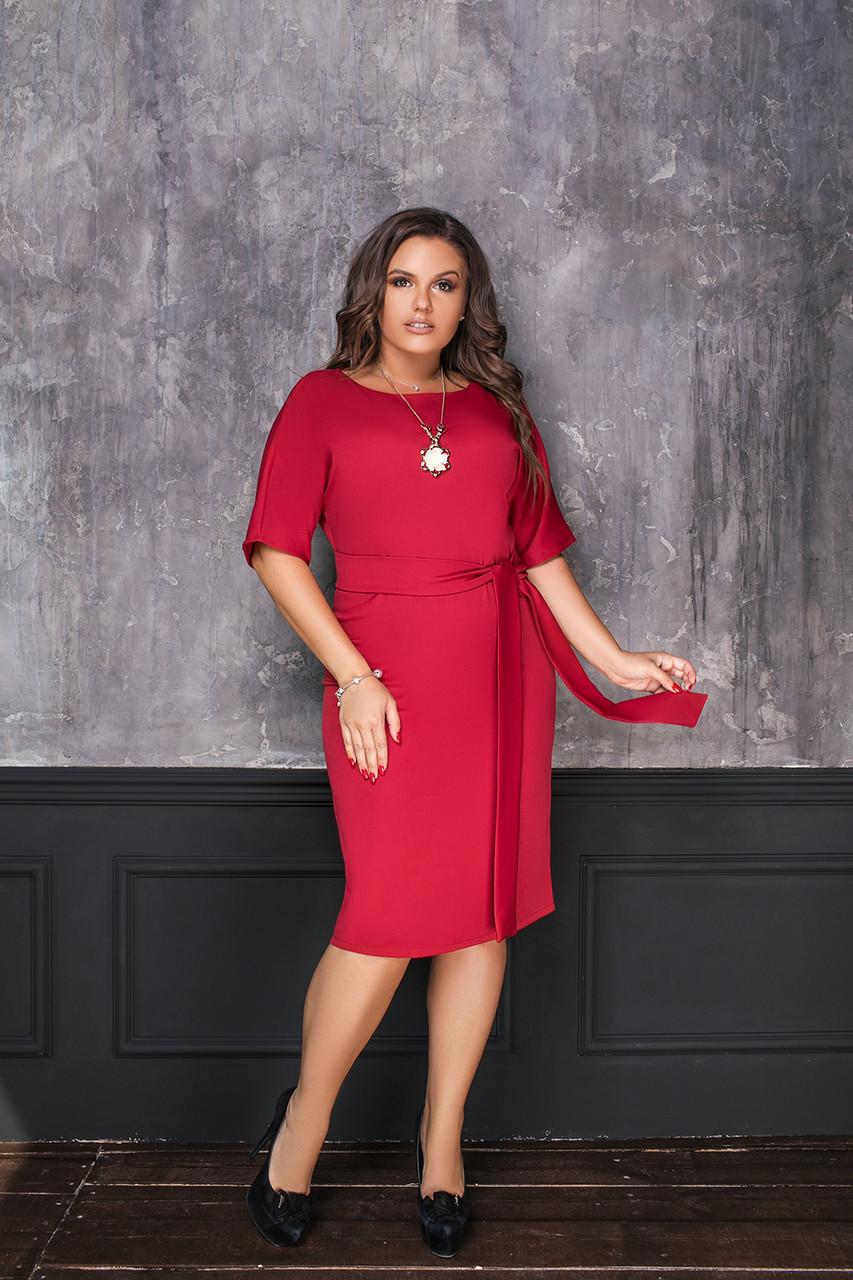 Элегантное приталенное платье с широкими рукавами, кулоном и длинным поясом в комплекте, батал большие размеры