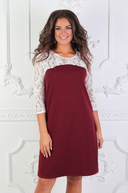 Платье женское короткое свободного кроя батал (К24134)