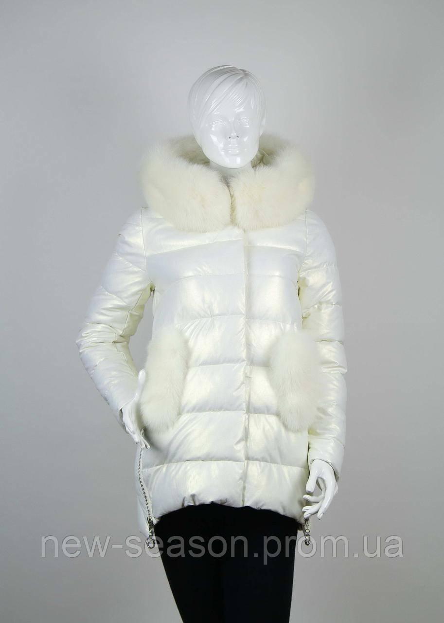 Куртка женская с мехом ZLLY (Zilanliya) 18507 молочный