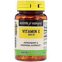 Mason Natural, Витамин E, 400 IU, 100 мягких желатиновых капсул