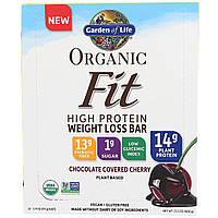Garden of Life, Organic Fit, батончик для потери веса с высоким содержанием белка, вишня в шоколадной глазури, 12 батончиков, по 1,9 каждый