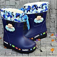 Детские синие резиновые сапоги для мальчика mickey mouse со съемным носком ВВТ 28р, 29р