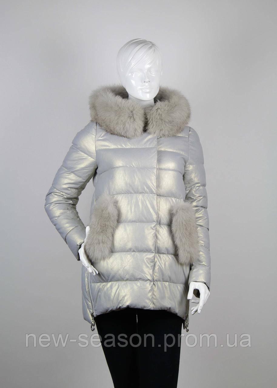 Куртка женская с мехом ZLLY (Zilanliya) 18507 светло-серый