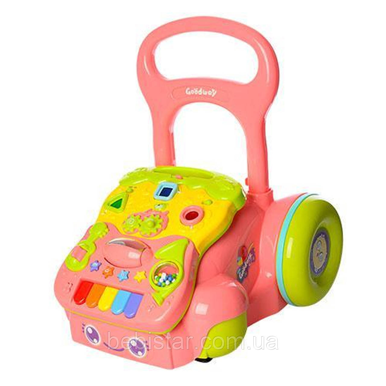 Каталка-игровой центр розовый для деток от 6-ти месяцев смузыкальной игровой панелью,трещоткой,погремушкой