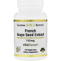 California Gold Nutrition, Экстракт французской виноградной косточки, 100 мг, антиоксидант полифенол, 120 вегетарианских капсул