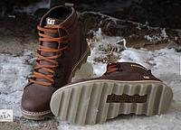 Мужские зимние кожаные ботинки в стиле CAT Expensive Chocolate с молнией