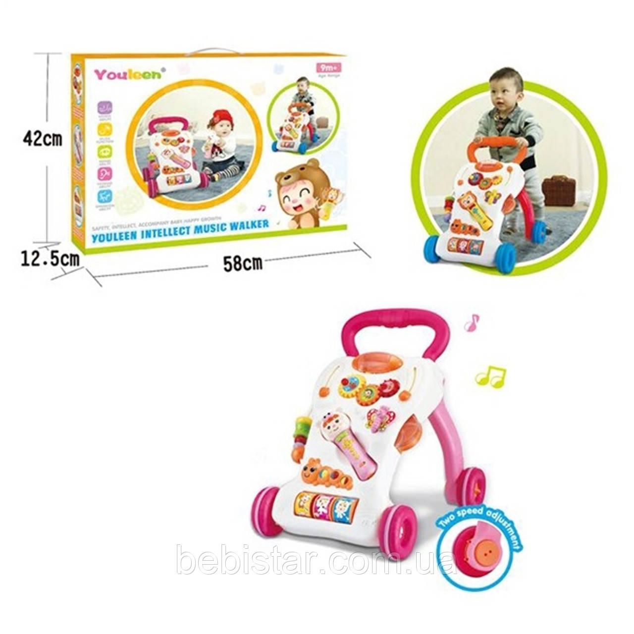 Каталка-ігровий центр рожевий для діток з шестерінками, гусеничка з музичними кнопками, метелик і мікрофон