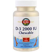KAL, Жевательные таблетки с витамином Д3, вкус натуральной корицы, 2000 МЕ, 100 жевательных таблеток