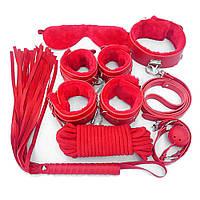 Набор красный Садо-мазо,фетиш,BDSM.БДСМ Плетка, веревка 5 м.,маска, кляп,наручники 2 пары, ошейник.1