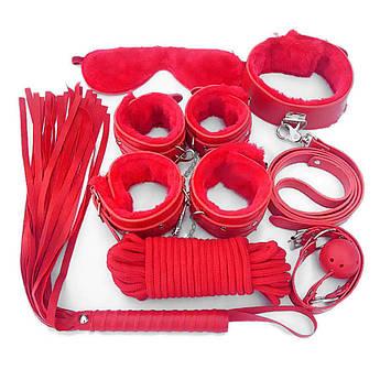 Красный садо-мазо набор для БДСМ игр 7 предметов. Фетиш