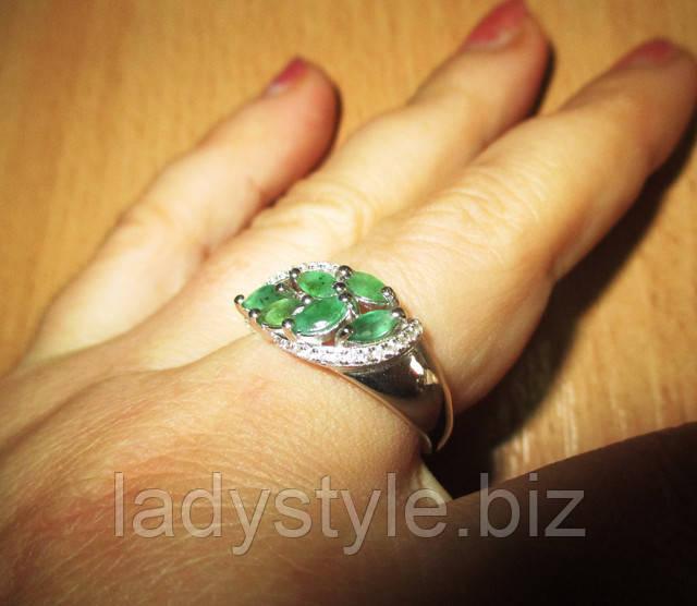 купить украшение перстень кольцо с изумрудами натуральные камни