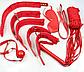 Набор красный Садо-мазо,фетиш,BDSM.БДСМ Плетка, веревка 5 м.,маска, кляп,наручники 2 пары, ошейник.1, фото 3