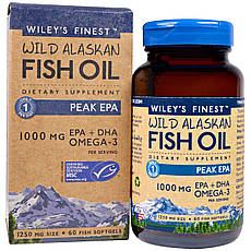 Wiley's Finest, Аляскинська риб'ячий жир, пік ЕПК, 1250 мг, 60 рибних м'яких капсул