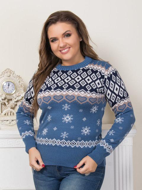 Женский свитер со снежинками (в расцветках)