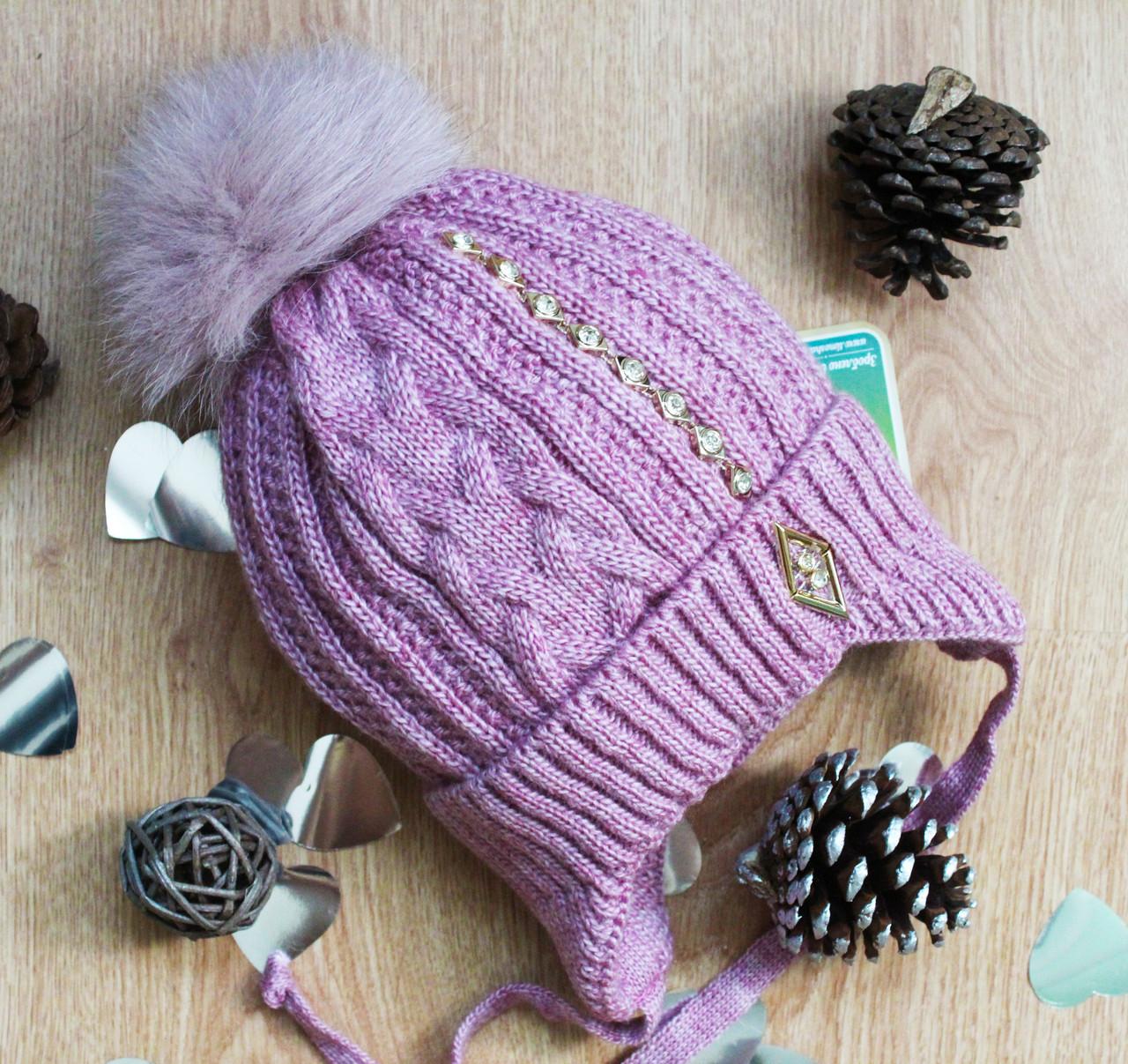 Вязаная шапка для девочки на флисе(полушерсть)