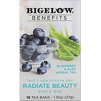 Bigelow, Benefits, Сияющая красота, травяной чай с черникой и алоэ вера, 18 чайных пакетиков, 1,44 унц. (40 г)