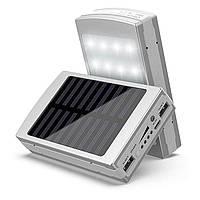 Power Bank 50000 mAh с солнечной батареей и Led панелью silver, фото 1