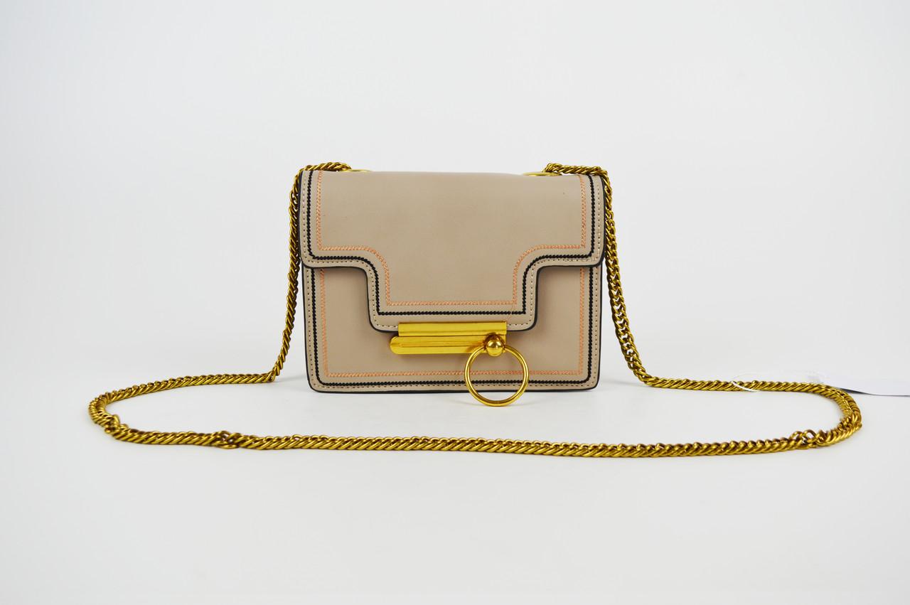 Бежевая миниатюрная сумка с кольцом 6053