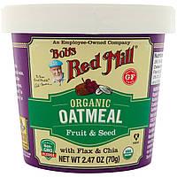 Bob's Red Mill, Органическая овсяная каша в стаканчике, фрукты и семена с льном и чиа, 2,47 унц. (70 г)