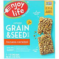 Enjoy Life Foods, Хрустящие батончики с зерном и семечками, Банан и карамель, 5 баточников, 1 унц.(28 г) каждый