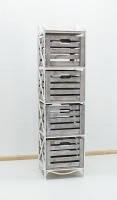 Кованая тумба (полка металлическая) 4 вертикальная белая коричнево-белый ящик, фото 1