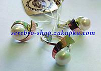 Серебряные серьги с золотом и жемчугом белым Г0002