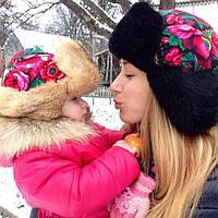 Шапка ушанка детская в стиле Матрешка с мехом кролика
