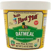 Bob's Red Mill, Органическая овсянка с семенами льна и чиа, ананасом и кокосом, 2,43 унц. (69 г)