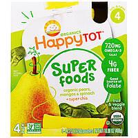 """Nurture Inc. (Happy Baby), Суперпродукт из серии """"Счастливый карапуз"""", органическая фруктово-овощная смесь c органической грушей, манго и шпинатом с"""