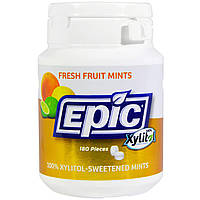 Epic Dental, Подслащенные 100%-ным ксилитом мятные таблетки со вкусом свежих фруктами, 180 шт., официальный сайт