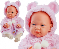 Кукла Paola Reina младенец Нина в розовой шубке с пустышкой, 36 см (Paola Reina 05017)