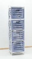 Тумба (полка металлическая) 4 вертикальная белая синий ящик, фото 1
