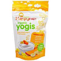 Happy Family Organics, Yogis, органические снеки из сублимированного йогурта с фруктами, банан и манго, 28 г, официальный сайт