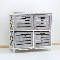 Кованая тумба (полка металлическая) 4 Квадрат белая коричнево - белый ящик