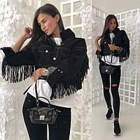 0e70cdf4c025 Модная Джинсовая Куртка Женская короткая с бахромой из эко-кожи 42-46(единый