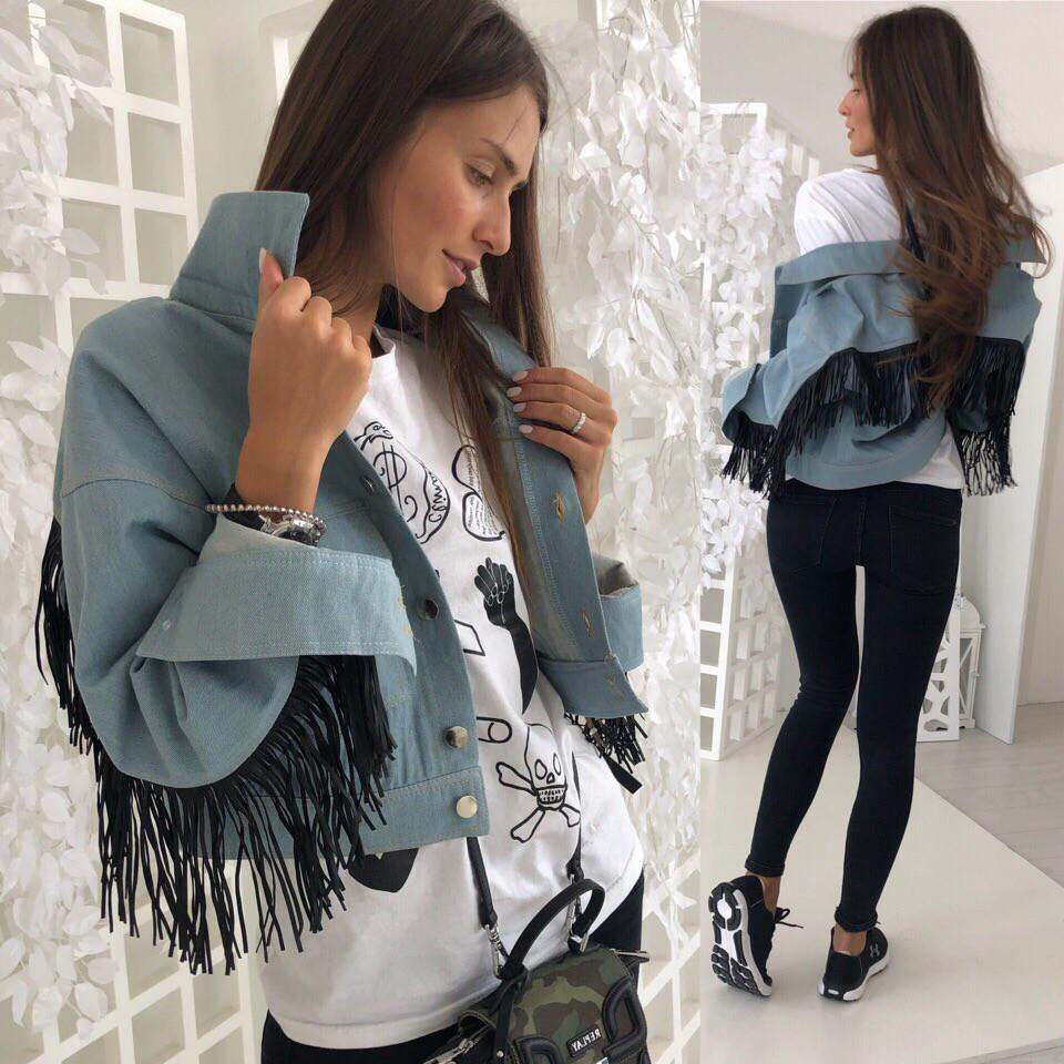 Куртка Женская Джинс короткая с бахромой  42-46(единый)