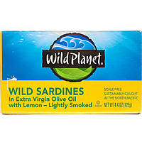 Wild Planet, Сардины в масле первого отжима с лимоном, 4,4унции (125 г)