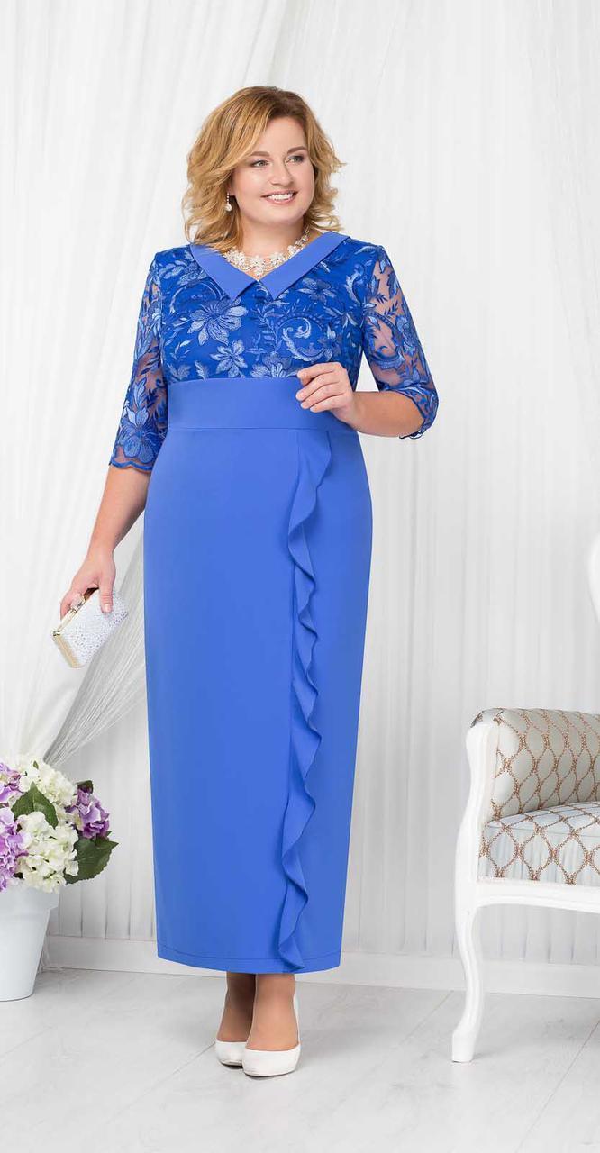 Платье Ninele-7206/2 белорусский трикотаж, василек, 50
