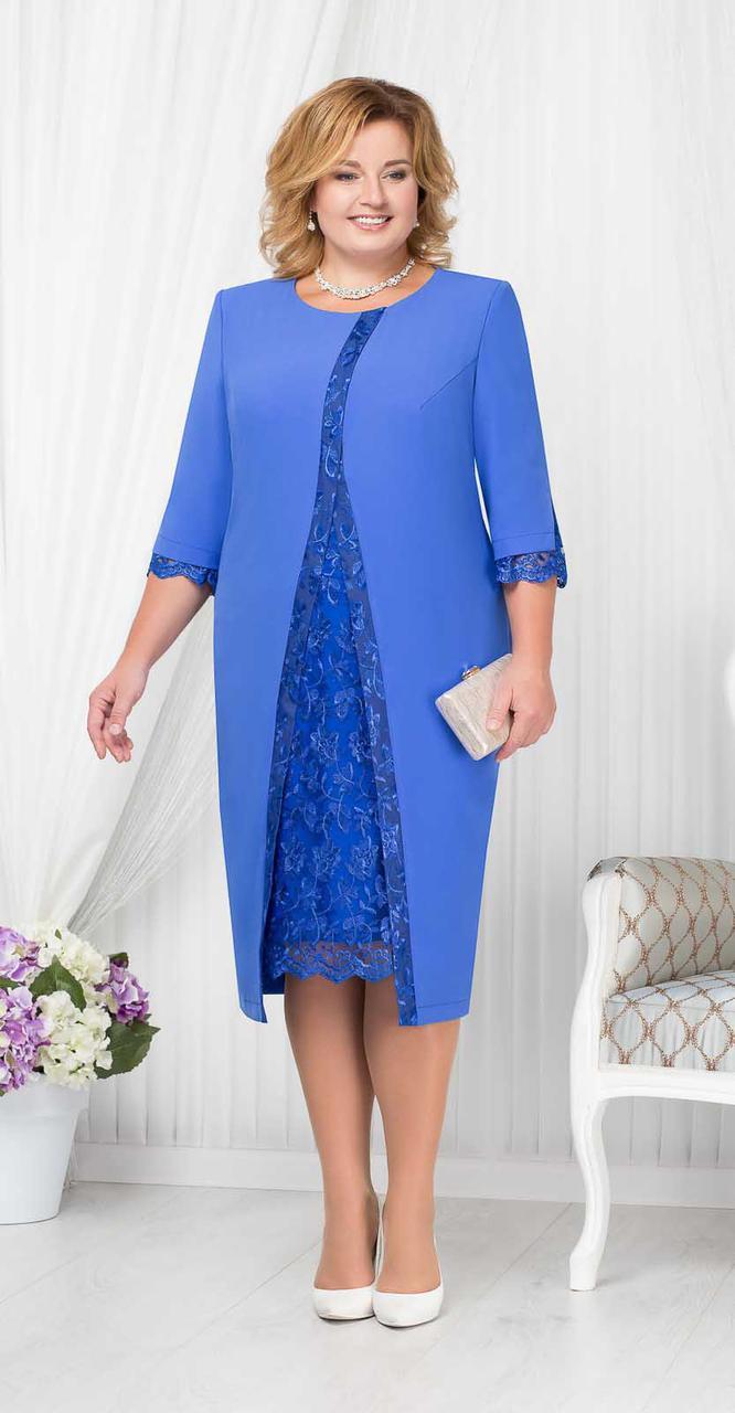 Платье Ninele-7208/2 белорусский трикотаж, василек, 56