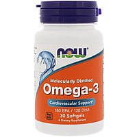 Now Foods, Омега-3, Молекулярная дистилляция, 30 капсул