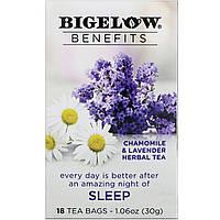 Bigelow, Benefits, Сон, травяной чай с ромашкой и лавандой, 18 чайных пакетиков, 1,44 унц. (40 г)