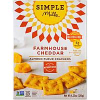 Simple Mills, Натуральные крекеры из миндальной муки без глютена, фермерский чеддер, 120 г (4,25 унции)