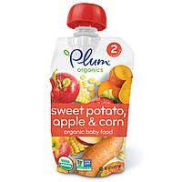 Plum Organics, Детское питание, стадия 2, батат, кукуруза и яблоко, 4 унции (113 г)