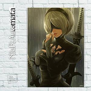 Постер Nier:Automata, Ниа Отомата. Размер 60x42см (A2). Глянцевая бумага