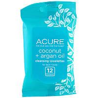 Acure, Влажные салфетки, кокос и аргановое масло, 12 салфеток