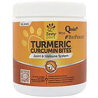 Zesty Paws, Куркума, ломтики с куркумином для собак, поддержка суставов и иммунитета, со вкусом утки, 90 мягких жевательных конфет