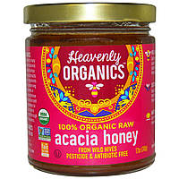 Heavenly Organics, Мёд акации, 100% органический сырой, 12 унций (340 г)