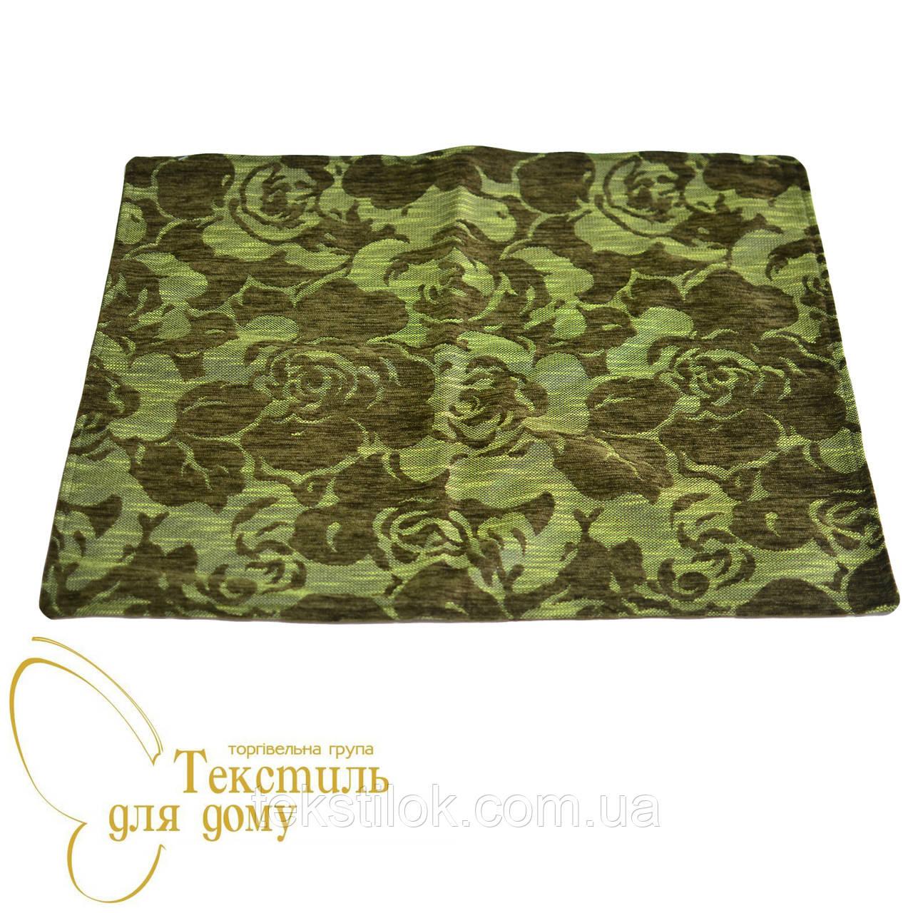 Наволочка декоративная рельефные цветы BURGAZ, 50*70, зеленый